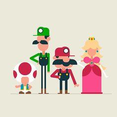 The crew.  #supermario #nintendo #nes #mario #luigi #princess #princesspeach #toad #vector #characterdesign #illustration #design #thedesigntip #dribbble #dribbblers #picame #videogame by jerryliustudio
