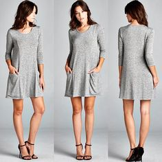 D5184 Semi-loose fit three-quarter length sleeves round neck dress. Has princess seams with side pockets at front. This dress is made with medium weight intermingle knit fabric that has great drape is soft and has great stretch.  #cherishapparel #cherishusa #fashionista #fashiontop #fashionable #fallfashion #instafashion #instastyle #fashionbuyer #fashionstyle #ootd #fashionable #beautiful #shopcherish #fashion #tunicdress #dress #dresses #interminglefabric http://bit.ly/cherish-D5184