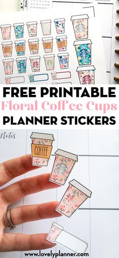 Free Printable Floral Starbucks Coffee Cups Planner Stickers - Lovely Planner