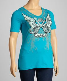 Bus Stop Turquoise Cutout Back V-Neck Top - Plus by Bus Stop #zulily #zulilyfinds