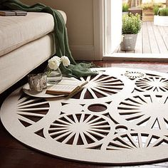 Lovely felt rug, however the idea could be used for coasters and or placemats for a dining table