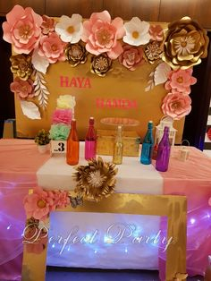 Floral Themed Birthday Pink and Gold paper flowers