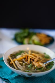light and delicious chicken poblano tortilla soup