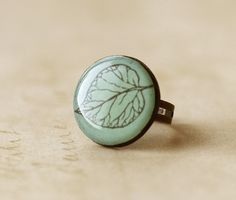 Frosted Leaf Clay Ring by smafactory on Etsy, $15.00