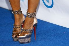 Kim K in Spiked Louboutins! This shoe looks spectacular!