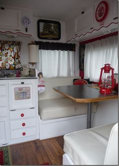 love the scallop on the cabinets vintage trailer camping glamping