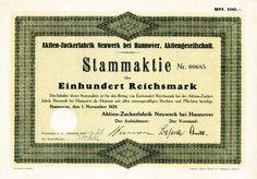 HWPH AG - Historische waardepapieren - Aktien-Zuckerfabrik Neuwerk bei Hannover AG / Hannover, 01.11.1929, Stammaktie über 100 RM