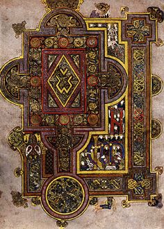 handscribed illumination from the ancient Irish 'Book of Kells' that contains the four gospels of the new testament, along with other text and tables, done by Celtic monks around the 8th century, or possibly earlier.