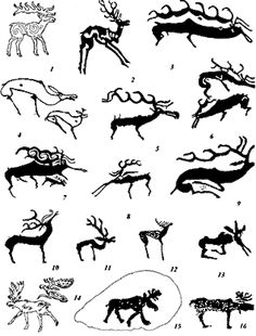 Deer and elk. 1.14 Pazyryk barrows (by Rudenko), Altai petroglyphs.