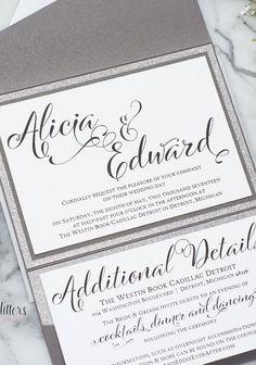 Follow Us Signaturebride On Twitter And Facebook At Signature Bride Magazine Glitter Wedding Invitations