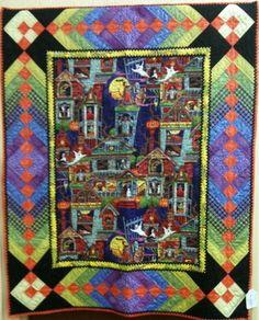 Handmade Patchwork Quilt Halloween Medallion French Braid Wall/Throw Art Quilt