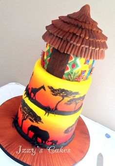 A 3 tier lemon sponge wedding cake for Sonya and Adrian. Adrian runs a safari business in Kenya so they wanted an African themed wedding! As it was snowing yesterday on their wedding day I hope the cake made them feel a little warmer! Luxury Wedding Cake, Themed Wedding Cakes, Themed Cakes, Crazy Cakes, Cupcakes, Cupcake Cakes, Beautiful Cakes, Amazing Cakes, Africa Cake