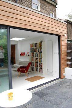 Green Tea Architects - Single Storey Rear Extension - Brockley, London - Like the big single sliding door Home, House Exterior, Exterior Cladding, Wooden House, New Homes, House Extension Design, Door Design