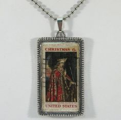 Vintage Christmas Postage Stamp Pendant Necklace  Van Eyck by 12be, $14.50