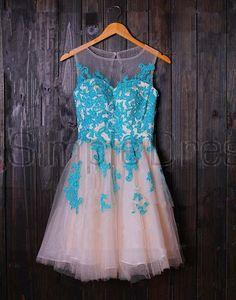 Simple Dress Elegant Scoop Applique Short Tulle Prom Dresses/Homecoming Dresses  TUPD-7153