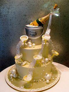 #Cake #Aniversário #Champanhe #Bolo