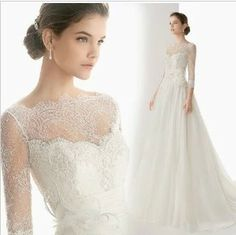2014 new spring and winter lace sleeve dress/ chiffon slit neckline wedding dress/ US $216.00