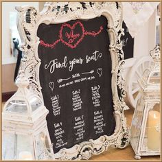 Chalkboard in antique frame | 8 Creative Seating Plan Ideas | Blog Post from Vintage Partyware | Vintage and Boho styling and hire for weddings, parties and events in Norfolk, Lincs and Cambs.