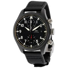IWC Pilot's Top Gun Automatic Chronograph Mens Watch at price: Black ceramic case with a black calfskin leather-based strap. Timex Watches, Breitling Watches, Iwc Pilot Chronograph, Discount Watches, Top Gun, Watch Model, Casio Watch, Luxury Jewelry, Luxury Watches