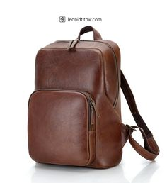 Large handmade leather backpack made of leather