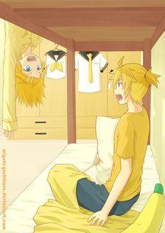Rin: SALUT FRÉROT!!! Len: AAAAAAAAAAAAHHHHHHH!!!!!!!!!!! Rin:  est ce que je t'ai fait peur? Len: Pfft. N'importe quoi!