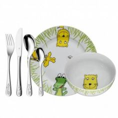 WMF Safari Children's Tableware Set for Ages 3 and Above Polished Cromargan Stainless Steel Customisable Cutlery Dishwasher-Safe Safari, Irish Wedding Rings, Carpenter Work, Circle Shape, Cutlery Set, My Heritage, Exotic Flowers, Cloth Diapers, Kids Christmas