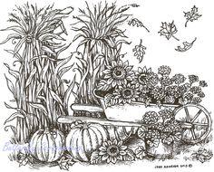 Cornstalks Pumpkins & Wheelbarrow, Wood Mounted Rubber Stamp NORTHWOODS - P9197