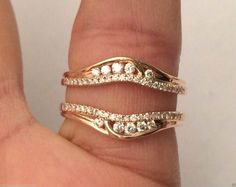 14kt Rose Gold Solitaire Enhancer Round Diamonds Ring Guard Wrap Jacket Insert (0.35ct. tw) by RG&D…#gold #diamonds #ringguard #wrap #enhancer #fashion #jewelery #love #gift #ringjacket #engagement #wedding #bridal #engaged #whitegold #yellowgold #online #shopping #jewelry #pintrest