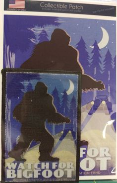Watch For Bigfoot Patch and Postcard Set - Sew on or Iron on - Collectible Patch Sew On Patches, Moose Art, Open Range, Bigfoot Sasquatch, Handmade Items, Iron, Watch, Sewing, Alaska