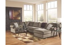 Signature Design by Ashley Jessa Place Living Room Set with Sectional Sofa and Oversized Accent Ottoman in Dune Sectional Living Room Sets, Living Room Furniture, Living Room Decor, Furniture Mattress, Living Rooms, Fabric Sectional, 3 Piece Sectional, Sectional Sofas, Ashley Sectional