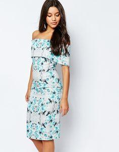 Image 1 ofASOS Off The Shoulder Bardot Midi Pencil Dress In Grey And Blue Floral