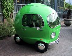 I've always wanted to ride around in a giant English pea!  (not)  But I guess if you got hit, you'd just roll away!