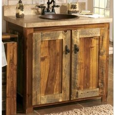 Rustic wood sink cabinet. i would do these in my kitchen!!