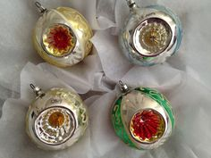 4 Large German Painted Mica Fancy Triple Deep Indent Glass Christmas Ornaments