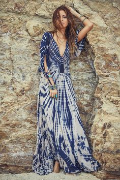 blue bohemian chic Maxi dress