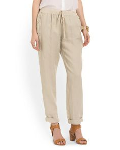 image of Linen Tapered Leg Pant