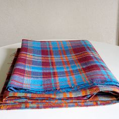Vintage Plaid Fabric Cotton Blend Nubby Linen Weave by ohthisnose, $16.00