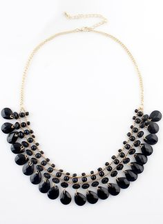 Black Bead Tassel Gold Chain Necklace EUR€5.98
