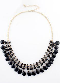 Black Bead Tassel Gold Chain Necklace EUR€5.98
