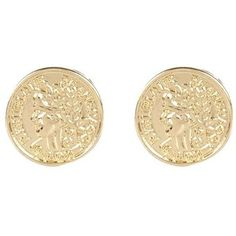 gold coin stud earrings - Google Search