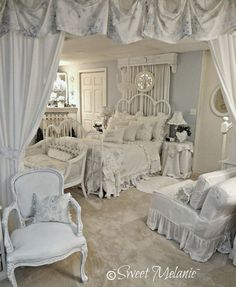 Pale Blue Romantic Bedroom Furnishings.