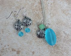 Aqua Seaglass Necklace Earrings Sterling Silver by InaraJewels