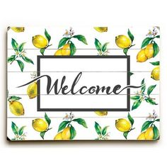 Welcome Lemon - Multi Solid Wood Wall Decor by OBC - 9 x 12 x Yellow, ArteHouse Wood Wall Decor, Wood Wall Art, Fall Mantel Decorations, Fall Decor, Lemon Crafts, Lemon Kitchen Decor, Spring Pictures, Kitchen Signs, Kitchen Items