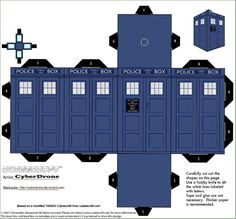 TARDIS+Bookshelf+Plans | Custom Cubeecraft Cutout template of a Classic TARDIS from Doctor Who ...