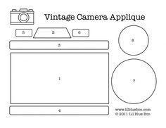 Vintage camera applique for kids clothes 3d Templates, Applique Templates, Applique Patterns, Paper Camera, Camera Cards, Mini Albums, Sewing Appliques, Marianne Design, Vintage Cameras