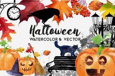 Halloween watercolor and vector by Tatiana_davidova on @creativemarket