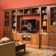 "Sierra Entertainment Center | Your home theater will blend beautifully with your decor when you display it on this 6-piece wall unit with 60"" TV console."