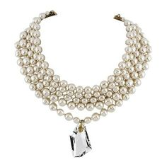 Miriam Haskell Pearl Choker With Swarovski Crystal Pendant (€185) ❤ liked on Polyvore featuring jewelry, necklaces, accessories, gold tone necklace, white pearl choker necklace, white pearl necklace, swarovski crystal pendant necklace and pendant choker