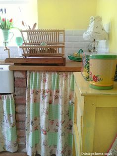 Colourful vintage kitchen in our English country cottage - no mod-cons here! www.vintage-home.co.uk
