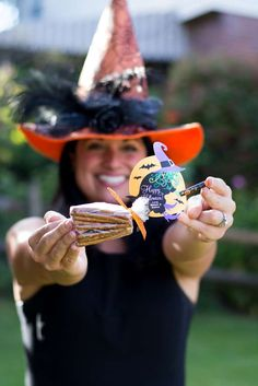 So excited to share this fun kids Halloween party that I did with Oriental Trading with you. From the whoopee cushion musical chairs, to our candy witch. Witch Party, Halloween Party Favors, Cute Halloween, Halloween Treats, Party Candy, Halloween Costumes, Halloween Activities, Preschool Halloween, Classroom Treats